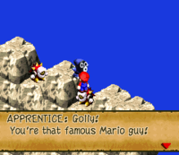 Mario standing on a Spikey while talking to an Apprentice