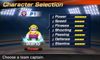 Wario's stats in the soccer portion of Mario Sports Superstars