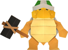 An origami Sledge Bro from Paper Mario: The Origami King.