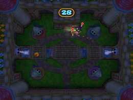 Toadette spots Waluigi and Wario in Flashfright from Mario Party 7.