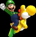 Luigi and Yellow Yoshi NSMBWii artwork.png