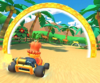 The icon of the Daisy Cup challenge from the 2019 Paris Tour and the Bowser Cup challenge from the Marine Tour in Mario Kart Tour.