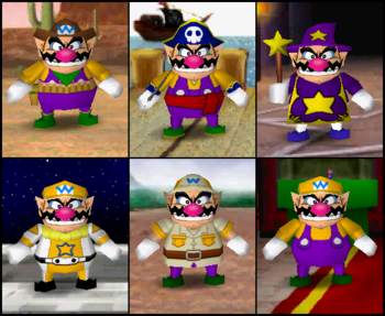 Wario's outfits in the game Mario Party 2.