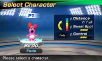 Birdo's stats in the golf portion of Mario Sports Superstars