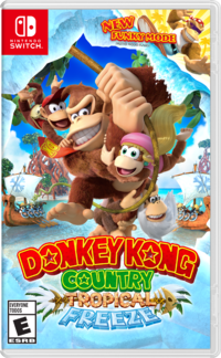 The North American cover art for Donkey Kong Country: Tropical Freeze on Nintendo Switch