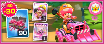 The Team Peach Builder Toadette Pack from the Mario vs. Peach Tour in Mario Kart Tour