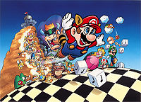 The main cast of Super Mario Bros. 3 - (the Koopalings, Bowser, Mario, Princess Toadstool, Toad and Luigi) and some enemies (Koopa Troopa, Koopa Paratroopa, Goomba, Para-Goomba, Spiny, Hammer Brother, Lakitu, Spiny Egg and Scattering Bloober) - in a scene used for the Japanese Famicom box art. Illustration dated from 1988.