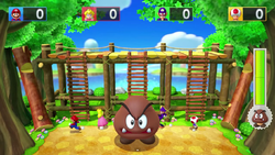 Boss minigame from Mario Party 10; Mega Goomba's Ladder Leap.
