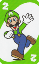 The Green Two card from the UNO Super Mario deck (featuring Luigi)