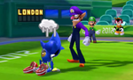 Luigi and Charmy Bee watch Metal Sonic mope over his loss to Waluigi