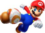 Artwork of Mario kicking a soccer ball