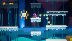 Mine-Cart Cave stage from Yoshi's Crafted World