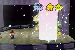The Peach Beam being used on Bowser to make the Star Rod's power become weak enough so that Mario and his allies can attack him.