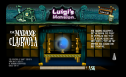 """A screenshot of the """"Ask Madame Clairvoya"""" activity from the Luigi's Mansion website"""