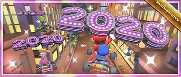 The New Year's 2020 Pack from the Holiday Tour in Mario Kart Tour