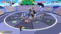 The battle against Boss Sumo Bro in Paper Mario: The Origami King