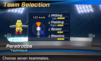 Paratroopa's stats in the baseball portion of Mario Sports Superstars.