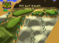 Hole 5 of Shy Guy Desert from Mario Golf