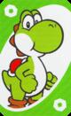 The Green Zero card from the UNO Super Mario deck (featuring Yoshi)