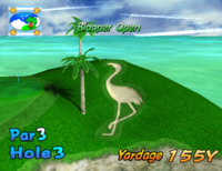 The third hole of Blooper Bay from Mario Golf: Toadstool Tour.