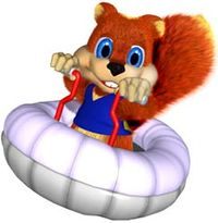 Artwork of Conker the Squirrel from Diddy Kong Racing