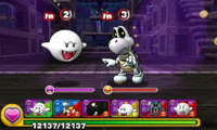Screenshot of World 3-Ghost House, from Puzzle & Dragons: Super Mario Bros. Edition.