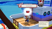 Mario collects a Canned Heart from The Great Sea in Paper Mario: The Origami King