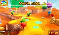 Yoshi Lake ninth hole in the game Mario Golf: World Tour.