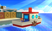 Mario on some boat in a harbor.