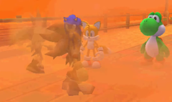 Yoshi, Sonic, and Tails are confronted by Fog Imposters