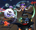 Thumbnail of the Waluigi Cup challenge from the 2021 Halloween Tour; a Snap a Photo challenge set on RMX Ghost Valley 1R