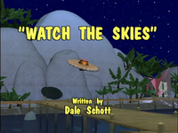 The title card for the episode Watch the Skies from the Donkey Kong Country television series