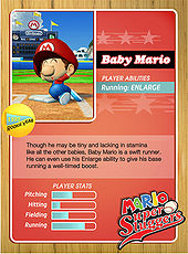 Level 1 Baby Mario card from the Mario Super Sluggers card game