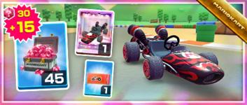 The Black Kabuki Dasher Pack from the Mario Tour in Mario Kart Tour