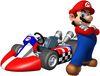 Mario Kart Wii promotional artwork: Mario next to his normal kart