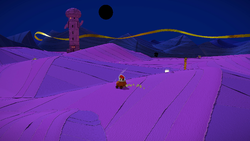 Mario traveling through Scorching Sandpaper Desert in a Boot Car in Paper Mario: The Origami King
