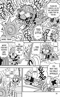 Mario has some difficulty with a Wire Trap from the English Super Mario-kun compilation, Super Mario Manga Mania.