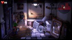 Luigi exploring the 507 Bathroom in the RIP Suites.