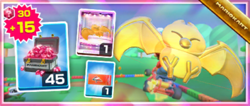 The Gold Swooper Pack from the Hammer Bro Tour in Mario Kart Tour