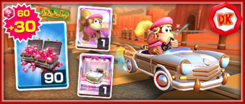 The Team Donkey Kong Dixie Kong Pack from the Bowser vs. DK Tour in Mario Kart Tour
