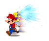 Mario uses F.L.U.D.D.'s Turbo Nozzle in Super Mario Sunshine.