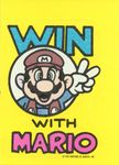 """A sticker of Nintendo Game Pack tip card #18 of Mario giving the peace sign from Super Mario Bros. 2 for the Family Computer Disk System; the surrounding text reads, """"Win with Mario"""""""