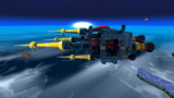 "A screenshot of Dreadnought Galaxy during the ""Revenge of the Topman Tribe"" mission from Super Mario Galaxy."