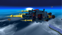 """A screenshot of Dreadnought Galaxy during the """"Revenge of the Topman Tribe"""" mission from Super Mario Galaxy."""