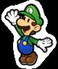 A sticker of Luigi in the game Super Smash Bros. Brawl.