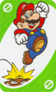 The Green Skip card from the UNO Super Mario deck (featuring Mario and a Goomba)