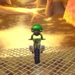 Baby Luigi performing a Trick in Mario Kart Wii