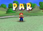 Mario receiving a par in Mario Golf.