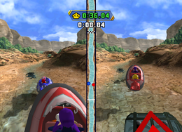 Waluigi in Lean, Mean Ravine from Mario Party 8