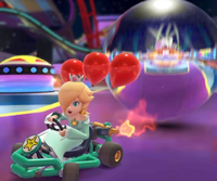 The icon of the Rosalina Cup challenge from the Halloween Tour, the Donkey Kong Cup challenge from the Wild West Tour, and the Fire Bro Cup challenge from the 2021 Paris Tour in Mario Kart Tour.